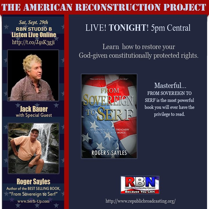 Roger Sayles is Jack Bauer's guest on American Reconstruction Project Radio