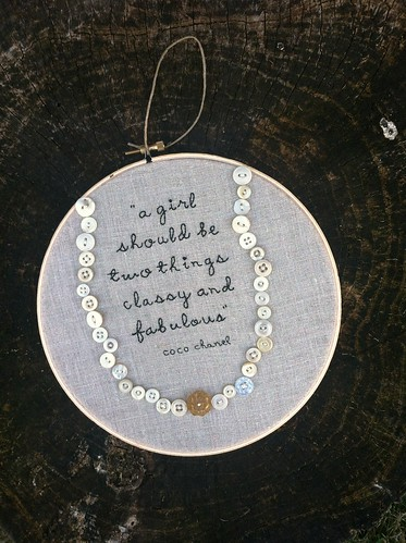 Coco Chanel quote with vintage button necklace