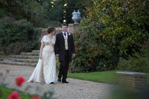 Moody Marriage - Bride and Groom, sporting homemade wedding dress and waistcoat