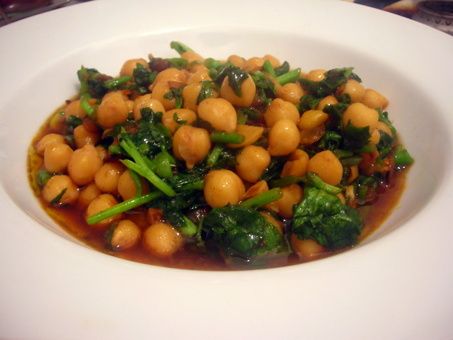 Chickpeas with winter greens and almonds