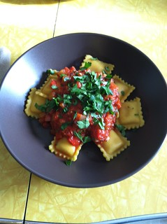 Butternut squash ravioli with jambalaya sauce