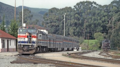 AMTK 517 with Train 11, the Coast Starlight, at San Luis Obispo, CA on March 5, 1994
