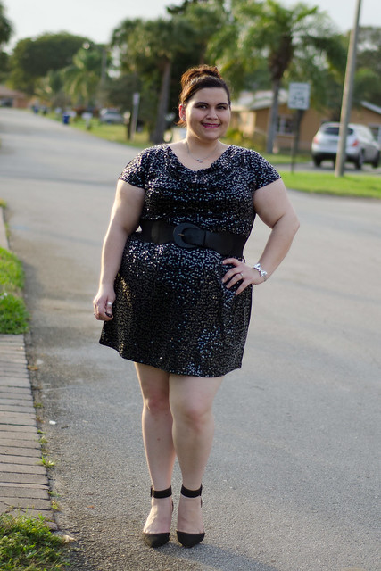 Smiling sequin dress, zara heels