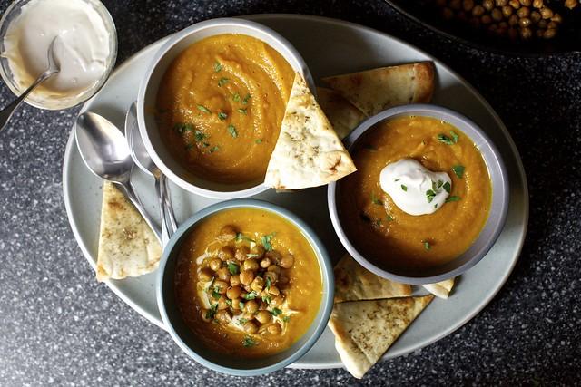 carrot soup, tahini, crisp chickpeas