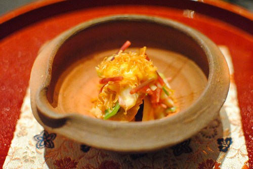 Monkfish Liver in White Miso Sauce with Seasonal Vegetables