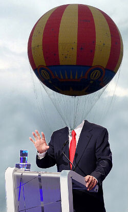 Moderator with hot air balloon for a head