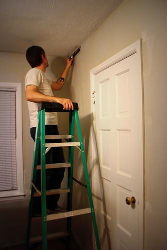 20121224. Skim coating the office walls.