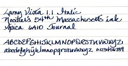 Noodler's 54th Massachusetts Ink Writing Sample