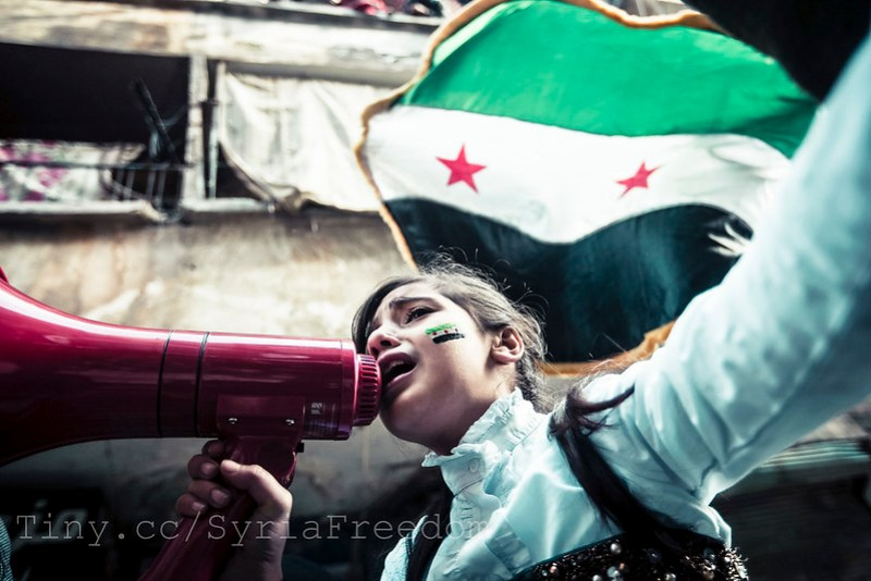 Children chanting Syrian freedom songs. Aleppo.