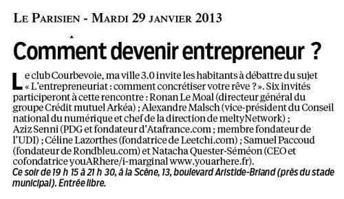 """Club """"Courbevoie 3.0"""" - Débat le mardi 29 janvier 2013 à Courbevoie - """"L'Entrepreneuriat : Comment concrétiser votre rêve ?"""" by Arash Derambarsh"""