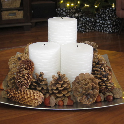 Cone Candle Pillars And Pine