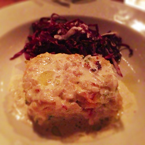 Maine lobster bread pudding with Madeira cream