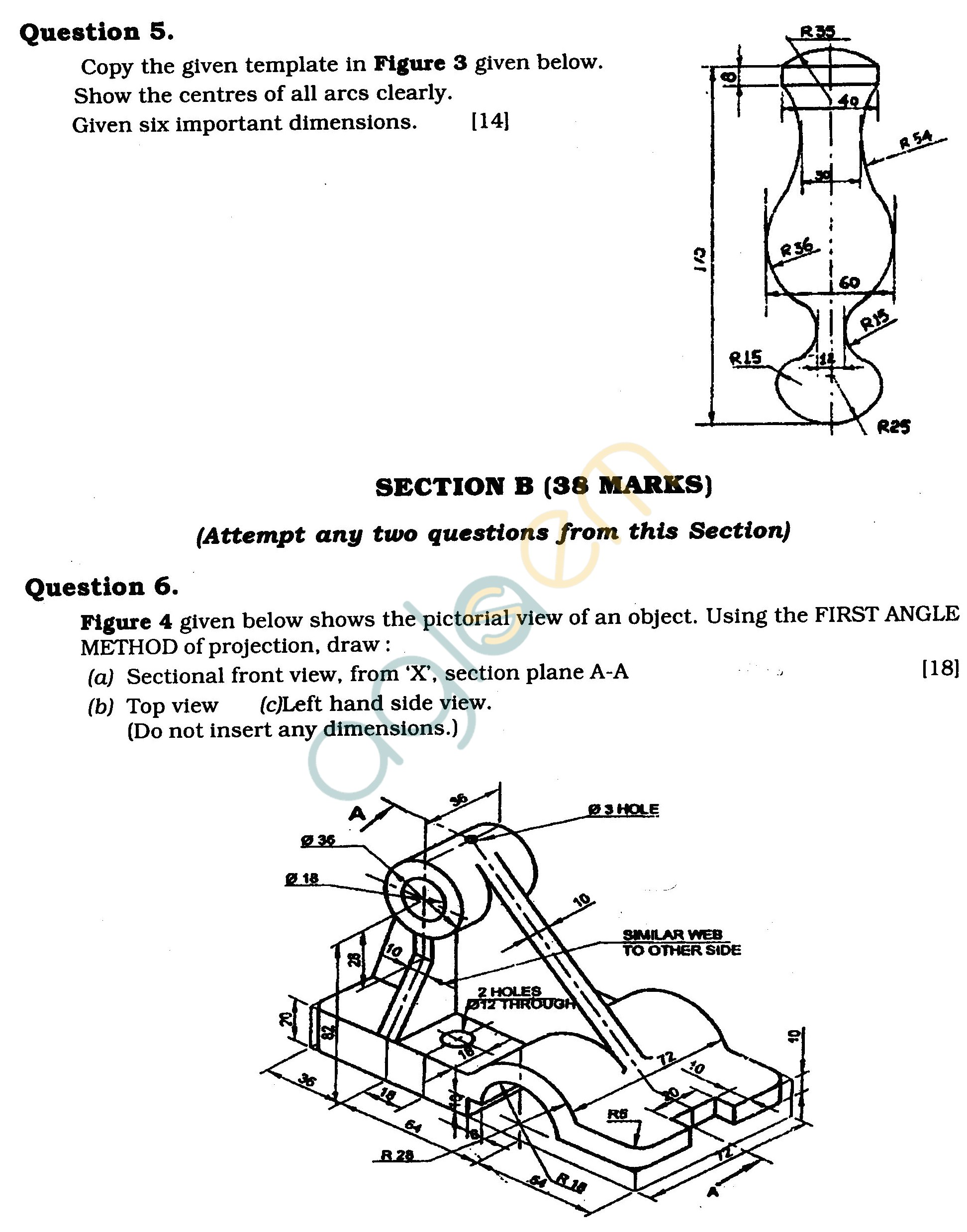 ICSE Class X Exam Question Papers 2011: Technical Drawing