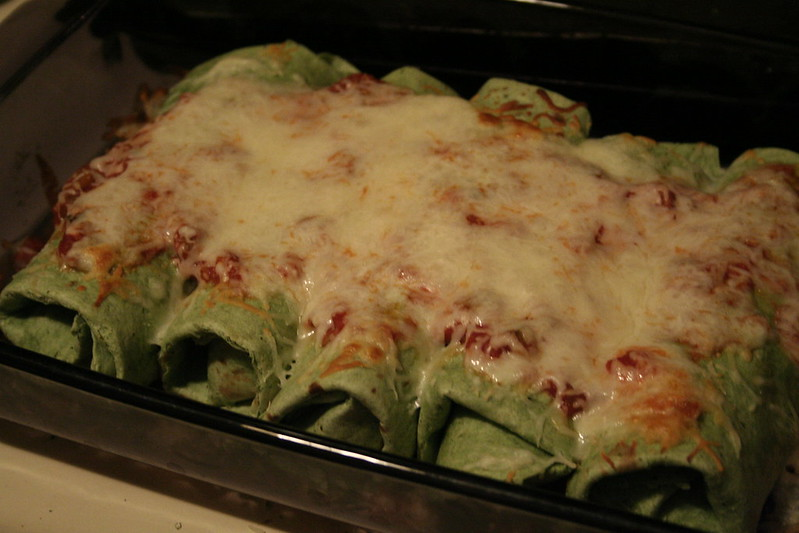 Spinach Chicken Enchiladas | Lazy Lady