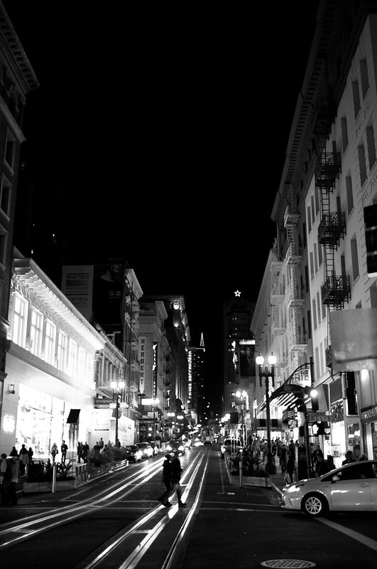 San Francisco street at night, shot with 24mm at 1.4 on D90