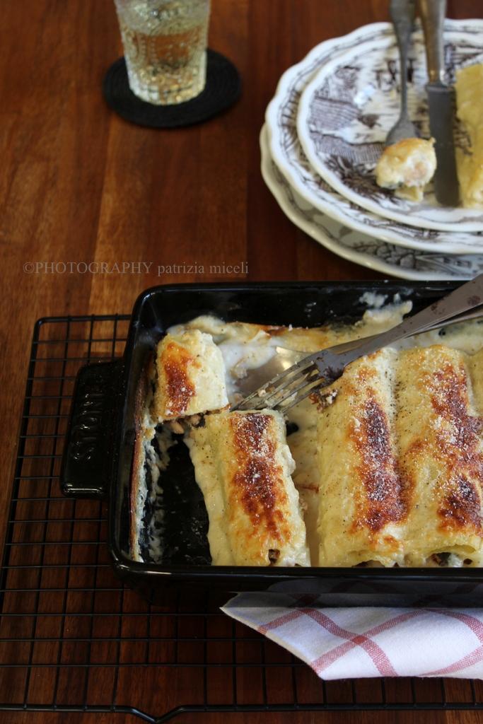 Cannelloni pollo, funghi e noci