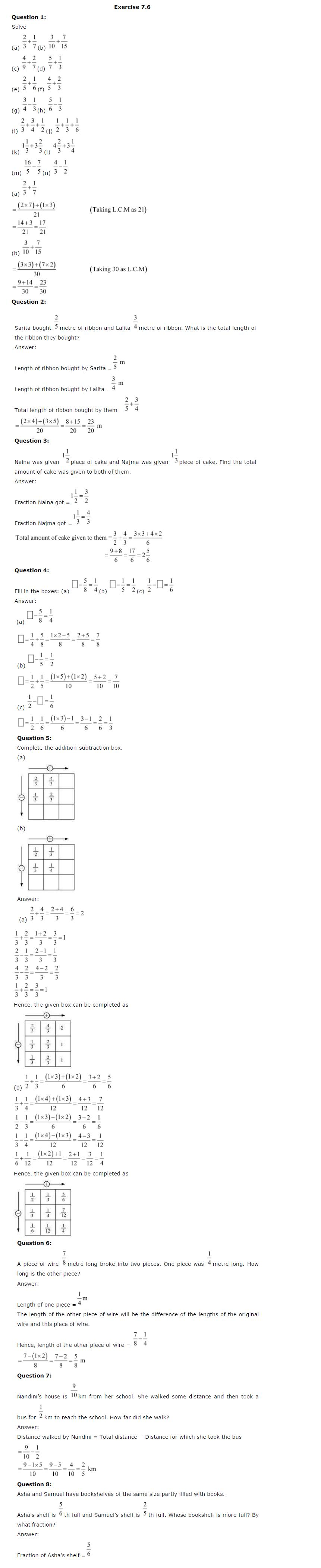 NCERT Solutions For Class 6th Maths Chapter 7 Fractions PDF Download Free 2018-19