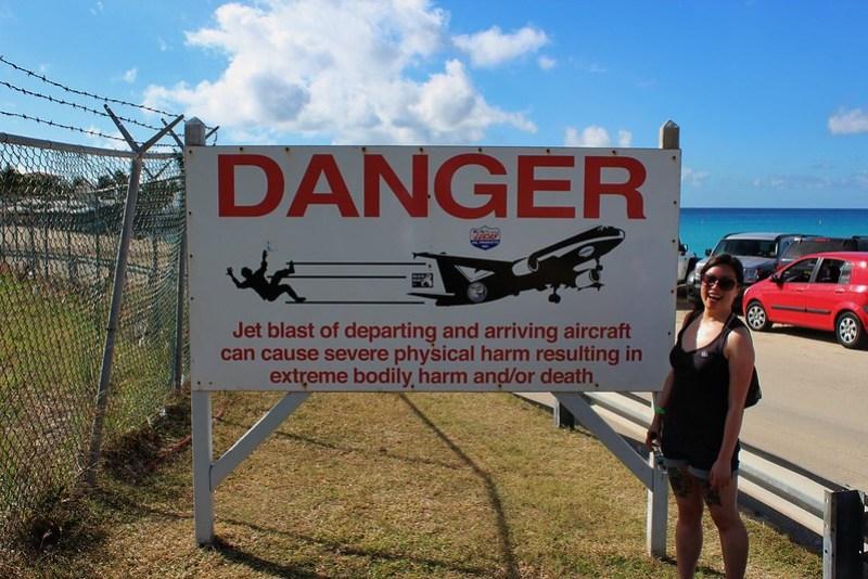 Maho Beach Warning Sign