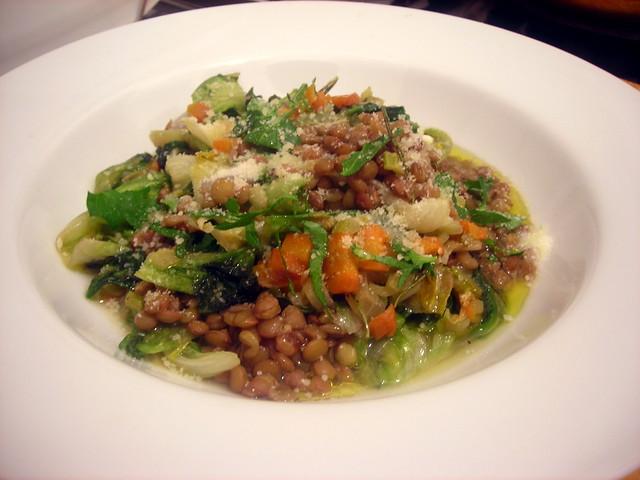 Lentil and escarole ragoût