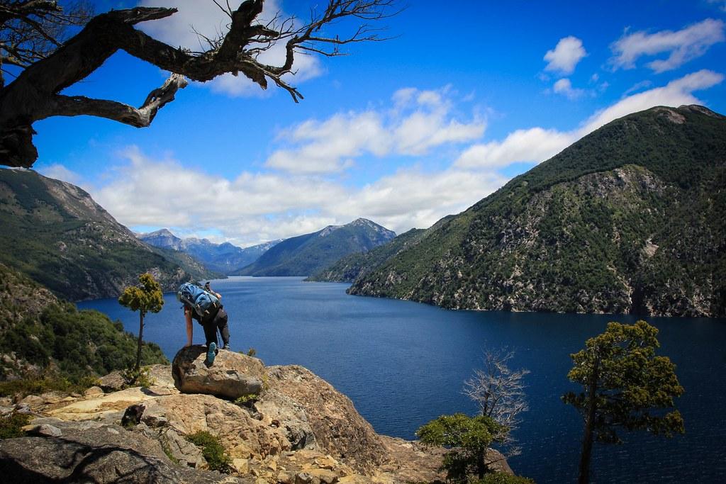 Climbing up towards Cerro Lopez with terrific view down Brazo Tristeza, a western inlet of the fjord-like Nahuel Huapi Lake