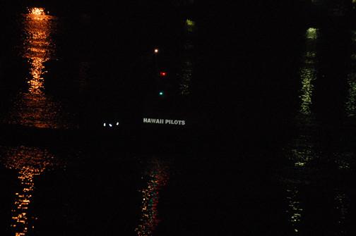 pilot boat at night