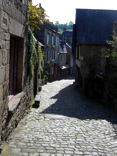 Shadows in the streets of Dinan Brittany France