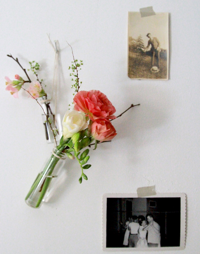 posies of quince, ranunculus, freesia, and spirea
