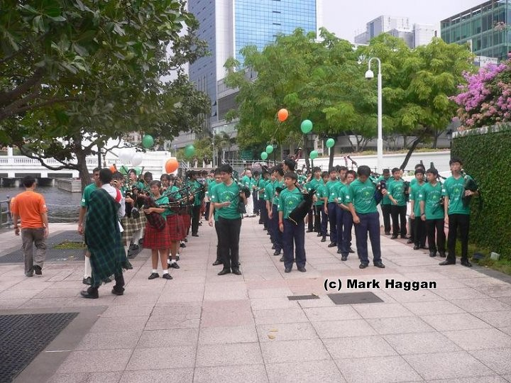 A band gets ready for the Singapore St Patrick's Day parade