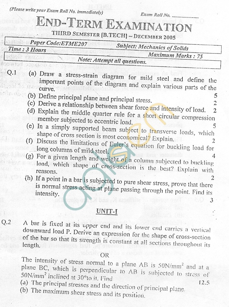 GGSIPU Question Papers Third Semester – End Term 2005 – ETME-205