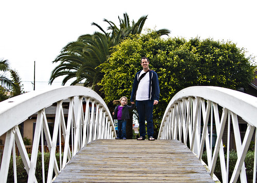 cresting the bridge with Daddy