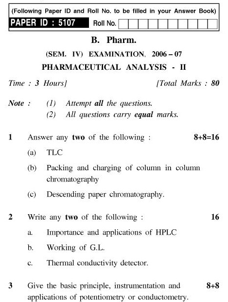 UPTU B.Pharm Question Papers PHAR-244 - Pharmaceutical Analysis-II