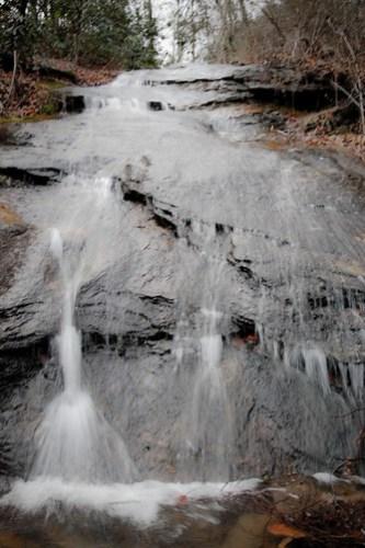 Standing below the waterfall