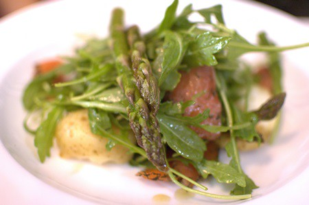 Cured salmon salad with asparagus, new potatoes & rocket