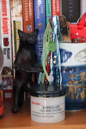 Cat statue in my office.