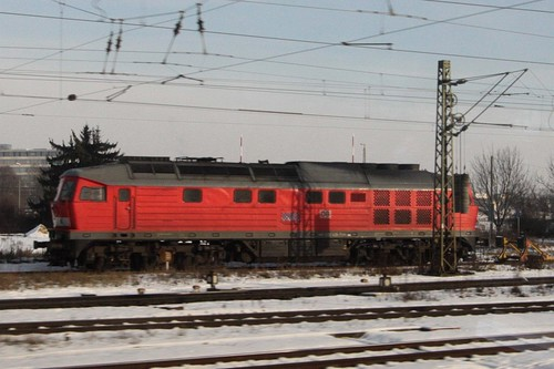 Old-school DR Class 232 diesel electric locomotive, still in service with DB outside Regensburg