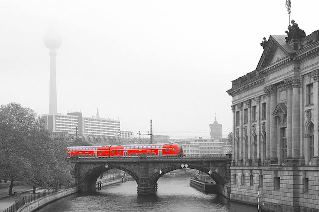 Museumsinsel, Fernsehturm, RB train, Rotes Rathaus, Berlin, Germany