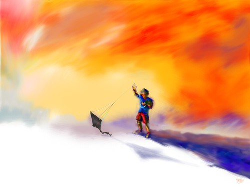 """Kite Flying"" (#62: Project 365 Sketches)"