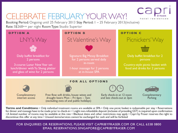Capri by Fraser February Promotion