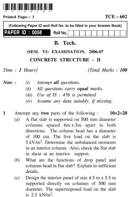 UPT B.Tech Question Papers - TCE-602-Concrete Structure – II