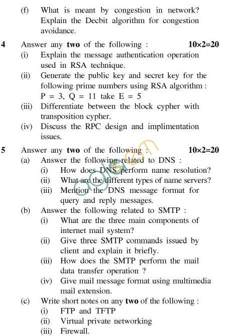 UPTU B.Tech Question Papers - CS-602-Computer Networks
