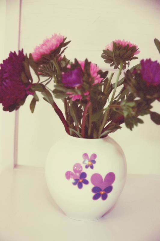 dahlias in retro vintage vase
