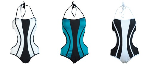 Colorblock Piping Maillot, white, teal and black, 1195