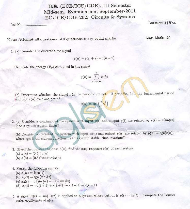 NSIT: Question Papers 2011 – 3 Semester - Mid Sem - EC-ICE-COE-202