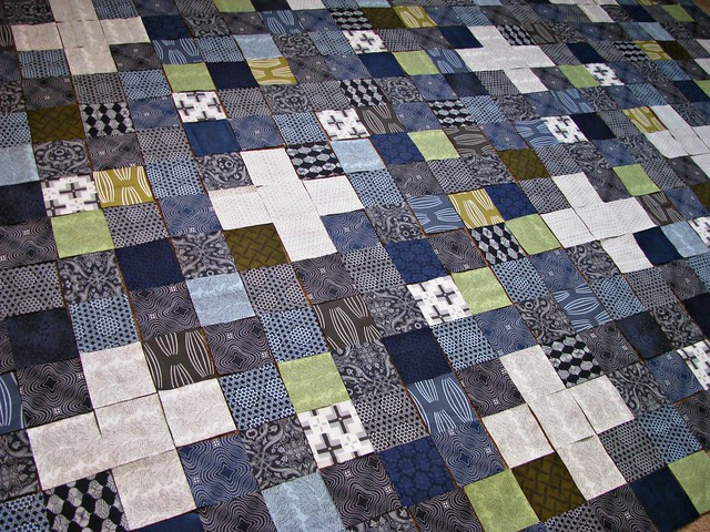 Laying Out the Squares for Dad's Quilt
