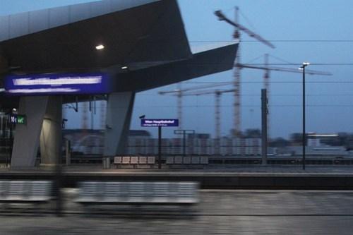 Speeding past Wien Hauptbahnhof