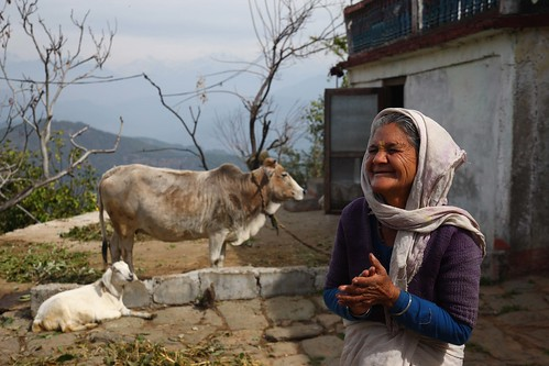 Elderly woman outside her home in Uttarakhand, India