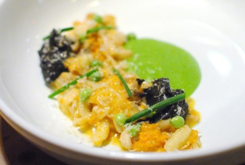 Cavatelli – Uni Ragù – English Pea Purée – Braised Mushrooms – Fromage Noir