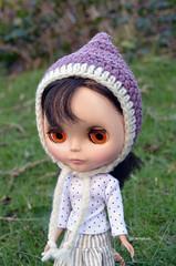Purple and Cream Pixie Hat