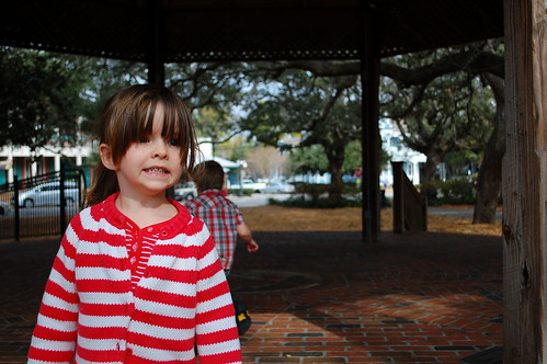 Playing in the gazebo.