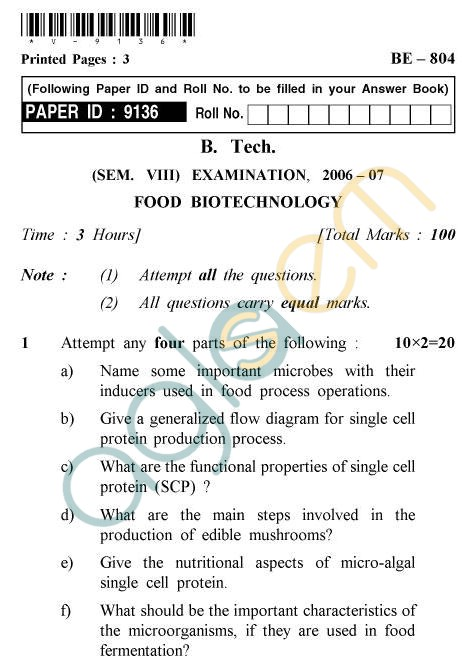 UPTU B.Tech Question Papers -BE-804 - Food Biotechnology